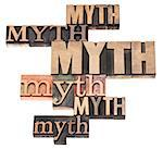 myth word abstract - isolated text in a variety of vintage letterpress wood type printing blocks Stock Photo - Royalty-Free, Artist: PixelsAway                    , Code: 400-06638969