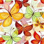 Seamless vivid  pattern with translucent butterflies (vector EPS 10) Stock Photo - Royalty-Free, Artist: OlgaDrozd                     , Code: 400-06639354