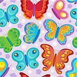 Butterfly seamless background 3 - vector illustration. Stock Photo - Royalty-Free, Artist: clairev                       , Code: 400-06639452