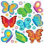 Butterfly theme collection 1 - vector illustration. Stock Photo - Royalty-Free, Artist: clairev                       , Code: 400-06639455