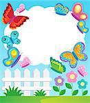 Butterfly theme frame 1 - vector illustration. Stock Photo - Royalty-Free, Artist: clairev                       , Code: 400-06639457