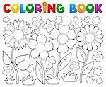 Coloring book with flower theme 2 - vector illustration. Stock Photo - Royalty-Free, Artist: clairev                       , Code: 400-06639470