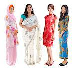 Group of Southeast Asian women in different culture. Full body diversity women in different traditional costume standing on white background. Stock Photo - Royalty-Free, Artist: szefei                        , Code: 400-06639641