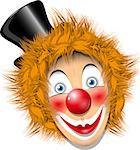 illustration redheaded clown face in black hat Stock Photo - Royalty-Free, Artist: Brux                          , Code: 400-06639803