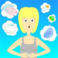 pregnant nipples - woman thinking adbout baby with pregnancy test Stock Photo - Royalty-Freenull, Code: 400-06640309
