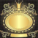 Decorative gold oval vintage frame on dark pattern (vector) Stock Photo - Royalty-Free, Artist: OlgaDrozd                     , Code: 400-06640483