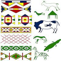 Vector image of ancient American pattern with animals on white Stock Photo - Royalty-Freenull, Code: 400-06641636