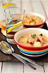 Two bowls of salmon (trout) chowder with cauliflower Stock Photo - Royalty-Free, Artist: dolphy                        , Code: 400-06642343