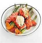 Grilled Lobster Tail Served With Asparagus Stock Photo - Royalty-Free, Artist: svetlanna                     , Code: 400-06642507