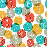Abstract colorful retro seamless pattern (balls doodles). Vector, EPS10 Stock Photo - Royalty-Freenull, Code: 400-06642594