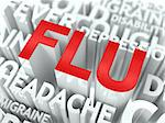 Flu Concept. The Word of Red Color Located over Text of White Color. Stock Photo - Royalty-Free, Artist: tashatuvango                  , Code: 400-06642864