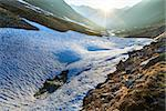 Evening mountain stream and sunset (near Timmelsjoch - high alpine road on Italian - Austria border) Stock Photo - Royalty-Free, Artist: Yuriy                         , Code: 400-06643803