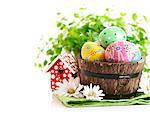Easter eggs in the pot isolated on white background Stock Photo - Royalty-Free, Artist: yasonya                       , Code: 400-06643981