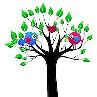 Illustration of love birds in a tree with a heart. Stock Photo - Royalty-Freenull, Code: 400-06644273