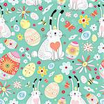 Seamless floral pattern of Easter bunnies and eggs on a green background Stock Photo - Royalty-Free, Artist: tanor                         , Code: 400-06644393