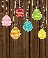 Vector wooden Easter background with decorative egg Stock Photo - Royalty-Freenull, Code: 400-06645361