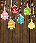 Vector wooden Easter background with decorative egg Stock Photo - Royalty-Free, Artist: Artspace                      , Code: 400-06645361