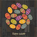 Easter eggs. Circle shaped on wooden planks background. Vector, EPS10 Stock Photo - Royalty-Free, Artist: pashabo                       , Code: 400-06645455