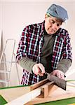 Man Cutting Lumber, Woodworking Project, in Studio Stock Photo - Premium Royalty-Free, Artist: Uwe Umsttter, Code: 600-06645793