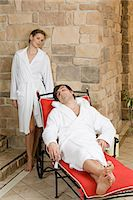 Couple relaxing at spa Stock Photo - Premium Royalty-Freenull, Code: 6114-06646265