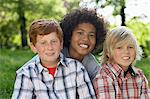 Three boys outdoors Stock Photo - Premium Royalty-Freenull, Code: 6114-06655229