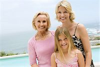 Portrait of a family by a swimming pool Stock Photo - Premium Royalty-Freenull, Code: 6114-06656634