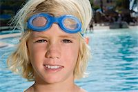 Boy with swimming goggles Stock Photo - Premium Royalty-Freenull, Code: 6114-06661708