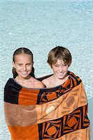 Girl and boy in a towel Stock Photo - Premium Royalty-Freenull, Code: 6114-06661717