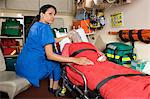 Nurse and patient in ambulance Stock Photo - Premium Royalty-Free, Artist: Blue Images Online, Code: 6114-06661779