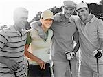 Portrait of four young friends at golf course Stock Photo - Premium Royalty-Free, Artist: Westend61, Code: 693-06668077