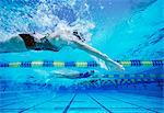 Four female swimmers racing together in swimming pool Stock Photo - Premium Royalty-Free, Artist: CulturaRM, Code: 693-06668093