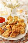 Chicken with a sesame crust and chilli sauce Stock Photo - Premium Royalty-Freenull, Code: 659-06671109