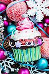 Bauble cupcake on Christmas decorations Stock Photo - Premium Royalty-Freenull, Code: 659-06671396