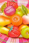 An assortment of colourful marzipan fruits Stock Photo - Premium Royalty-Freenull, Code: 659-06671398