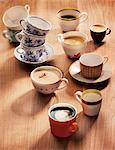 An assortment of coffee cups and varieties of coffee Stock Photo - Premium Royalty-Free, Artist: Cultura RM, Code: 659-06671470
