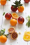 Oranges and blood oranges with leaves Stock Photo - Premium Royalty-Free, Artist: ableimages, Code: 659-06671505