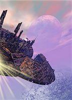 spaceship - Spaceship in orbit around an alien planet, computer artwork. Stock Photo - Premium Royalty-Freenull, Code: 679-06672714