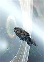 spaceship - Space portal. Computer artwork of a spaceship about to go through a space portal. Stock Photo - Premium Royalty-Freenull, Code: 679-06672718
