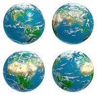 Four views of the Earth with cloud cover, computer artwork. Stock Photo - Premium Royalty-Freenull, Code: 679-06672813