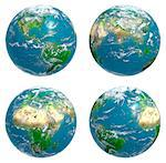 Four views of the Earth with cloud cover, computer artwork. Stock Photo - Premium Royalty-Free, Artist: AWL Images, Code: 679-06672813