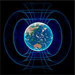 Earth's magnetic field, computer artwork. Stock Photo - Premium Royalty-Free, Artist: Minden Pictures, Code: 679-06672944