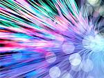 Optical fibres emitting light. Optical fibres are used in telecommunications to transmit data at high speed. Stock Photo - Premium Royalty-Free, Artist: Andrew Douglas, Code: 679-06673653