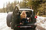 Portrait of Woman with her French Bulldog in the Back of an FJ Cruiser SUV on Mt. Hood, Oregon, USA Stock Photo - Premium Rights-Managed, Artist: Boone Rodriguez, Code: 700-06674967