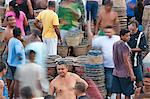 South America, Brazil, Para, Amazon, the morning acai market outside in Belem, which takes place outside the Ver o Peso market, on the waterfront of Guajara Bay Stock Photo - Premium Rights-Managed, Artist: AWL Images, Code: 862-06675943