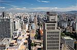 South America, Brazil, Sao Paulo; view along Avenida Sao Joao from the top of the Banespa Tower showing the roof of the Martinelli building in the foreground, Nossa Senhora do Rosario church and the Largo do Paicandu Stock Photo - Premium Rights-Managed, Artist: AWL Images, Code: 862-06676066