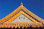 Architectural detail of the yellow glazed ceramic roof tiles, gable and eaves of the Gate of Supreme Harmony, the Forbidden City, Beijing, China. Stock Photo - Premium Rights-Managed, Artist: AWL Images, Code: 862-06676153