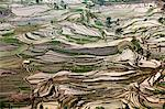 China, Yunnan, Yuanyang. Pattern of rice terraces at Tiger's Mouth, Laohuzi, Yuanyang. Stock Photo - Premium Rights-Managed, Artist: AWL Images, Code: 862-06676292
