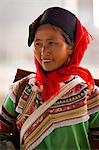 China, Yunnan, Xinjie. A lady from the Hani ethnic minority group at Xinjie market, with a woven rush rain protector strapped to her back. Stock Photo - Premium Rights-Managed, Artist: AWL Images, Code: 862-06676297
