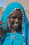 Chad, Kanem, Bahr el Ghazal, Sahel. A pretty Muslim girl of the Kanembu tribe at a village along the Bahr el Ghazal. Stock Photo - Premium Rights-Managed, Artist: AWL Images, Code: 862-06676369