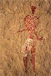 Chad, Gaora Hallagana, Ennedi, Sahara. An ancient bichrome rock painting of a man wearing a decorated cape and lower garment. Stock Photo - Premium Rights-Managed, Artist: AWL Images, Code: 862-06676402